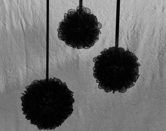 ROUND POMANDERS  Black Great For Bridesmaids And Decorations Sold In Sets Of 3