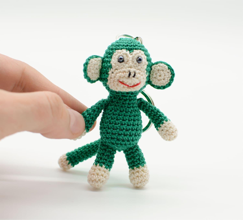 Amigurumi Keychain Loop : Keychain Monkey crochet Monkey Amigurumi Monkey green