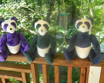Panda Bears ready for new homes! Purple, green, and blue variations!