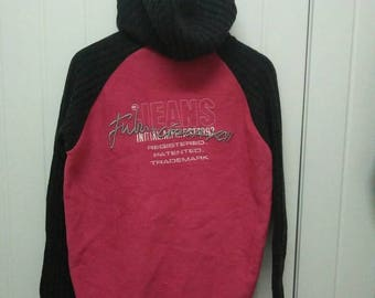 Rare Vintage FUBU JEANS Ladies Classic Embroidered Spell Out Fleece Jacket With Hoodie Size 95