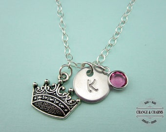 Custom Crown Charm Necklace, Swarovski Birthstone, Sterling Silver Necklace, Crown Necklace, Charm Necklace,Princess Jewelry,Princess,CSY005