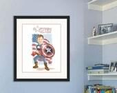 Child Portrait, Captain America, Cartoon Portrait, Kid Portrait, Illustration, Child room decoration, superhero portrait, Avengers, Heroes