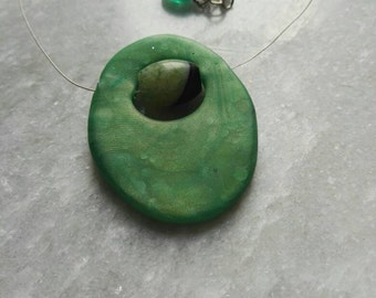 Unique pendant, polymeer clay jewelry, green pendant, polymer clay pendant, mothersday gift, Valentine day present