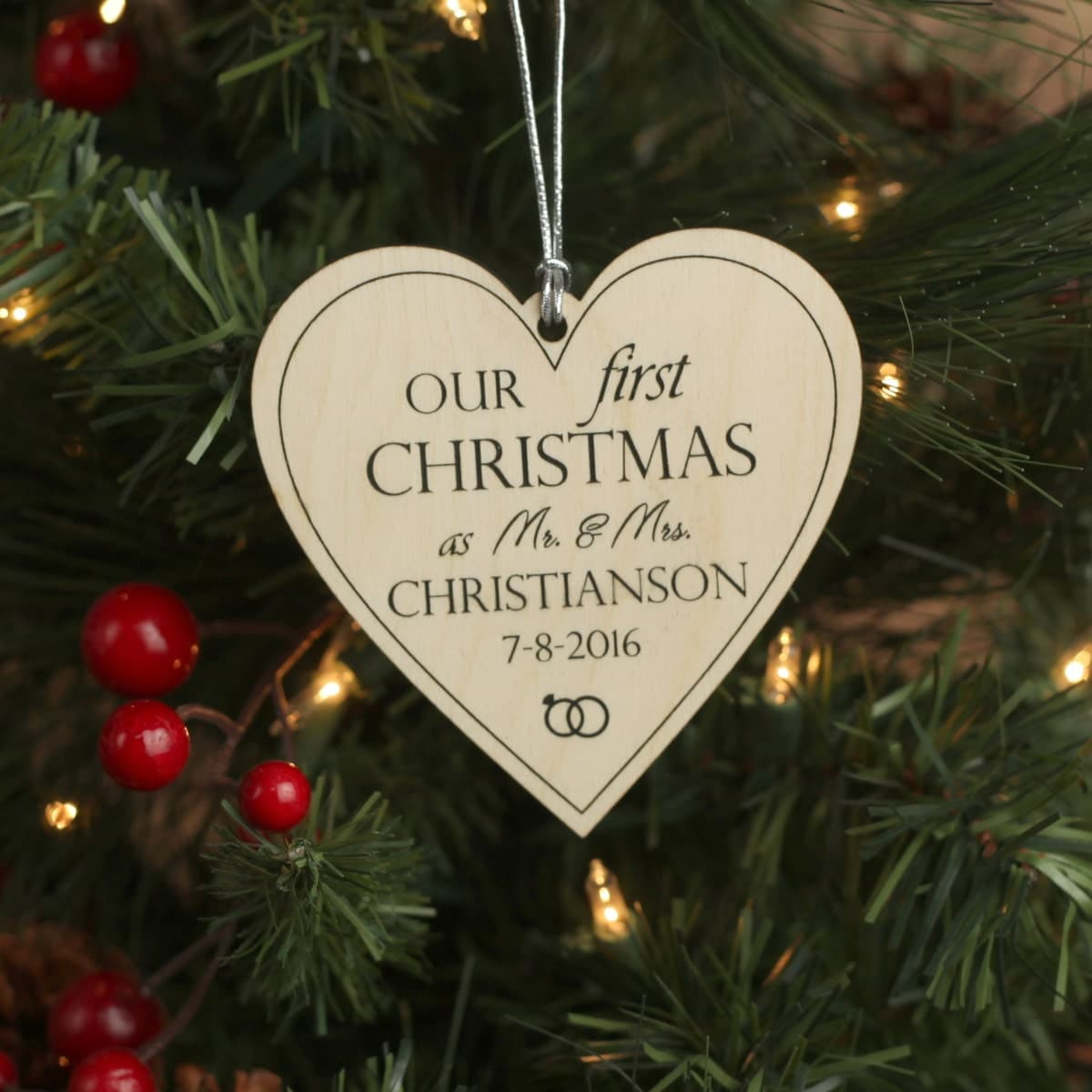 Our First Christmas Heart Ornament  Personalized Christmas
