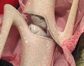"""Custom Crystal Stripper Shoes!  8"""" Stiletto heels, FULLY CUSTOMIZEABLE, any color, size, style!!!!"""