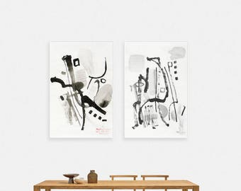 Abstract, Black and White, Ink, Painting, Extra large, Pinting, Ink painting, Minimalistic, Original, Minimalism, Modern Art, Set