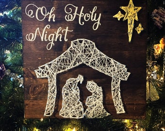 string art christmas, string art, string art cross, oh holy night sign, oh holy night oh holy night wood sign christmas decoration christmas