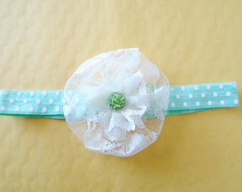 FFree ! baby headband for this week, lower with green polka dot baby headband, Flower headband, Polka dot baby headband