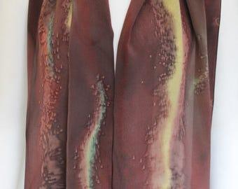 Silk Scarf Earthtone Hand Dyed Silk Scarf OOAK Crepe de Chine Silk Brown Rust Gold