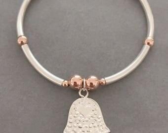 Sterling Silver & Rose Gold Noodle Bracelet with Hamsa Hand Charm