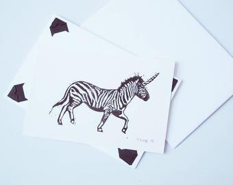 Zebracorn greetings card - hand printed lino cut