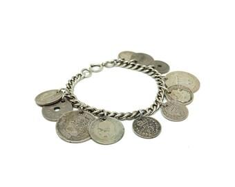 Vintage Coin Bracelet   Silver Bracelet   1820-1947 Bracelet   Silver Coin Bracelet   Charm Bracelet   Silver Chain Bracelet