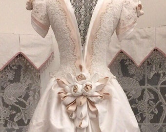 RENAISSANCE FANTASY WEDDING Dress/Beaded Edwardian Wedding Gown/ Vintage Embellished Ivory and Taupe Wedding Gown