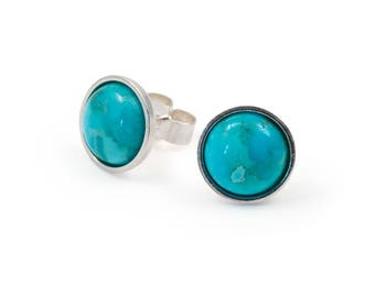 Turquoise Studs, Mens Stud Earrings, Sterling Silver Bezel Gemstone Earring, Mens earrings, Cabochon gift for him 8 mm