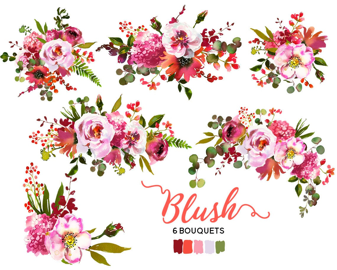 Pink Peach Coral Flowers Peonies Roses Watercolor Clipart