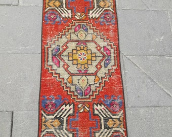 "Free Shipping ! Mat Rug Doormat Rug Entryway Rug Small Oushak Rug Area Rug Vintage Turkish Rug Distressed Low Pile Rug 1'4"" x 3'3"" Feet !"