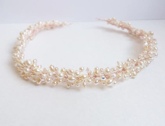 Champagne and Ivory Pearl and Crystal Bridal Headpiece