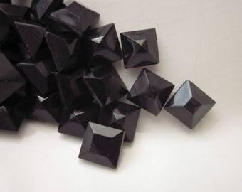 45 Vintage Rhinestones, Jet Black Glass, Faceted Front and Back, 6mm Square