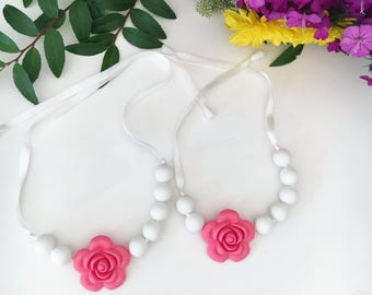 Teething necklace mommy and me set White silicone teether pink flower breakaway clip mommy baby gift nursing teething