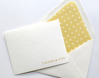 Thank You Cards - Professional Stationery - Lined Stationery - Fleur De List Gold - Flat Cards