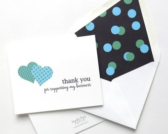 Stella and Dot Thank You Foldover Card - Referral Card - Business Support - Three Hearts