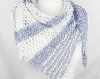 KNITTED shawl scarf cotton cotton jeans denim blue white