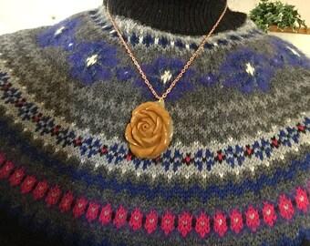 Orange Rose Pendant Necklace
