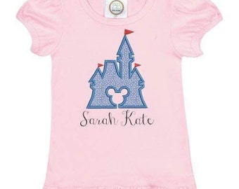 Princess Castle & Miss Mouse themed tshirt EMBROIDERED