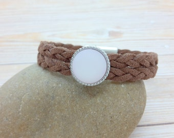 Vegan bracelet, brown, cabochon