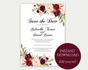 Save the date pdf | Etsy