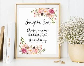 Sangria Bar Sign, Bridal Shower Sign, Wedding Drink Sign, Bar Sign, Wedding Bar Decor, Wedding Decor, Sangria Bar Print, Sangria Drinks