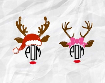 Reindeer Monogram SVG File, Christmas Rudolph Svg, Deer Svg, Christmas Cutting File, Reindeer DXF, Silhouette, Digital File, Cricut File