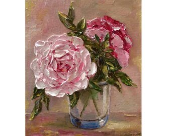 Pink and White Roses in a Glass Bowl Original oil impasto painting No.04-56 ready to hang