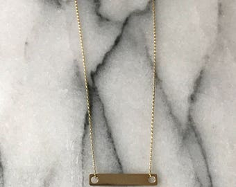 Custom Made 14k solid gold bar necklace