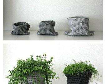 Basket, grey planter