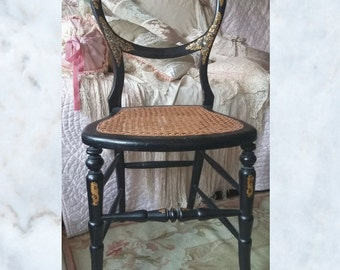 Beautiful Victorian ebonised, bergere, mother of pearl inlay balloon back chair, decorative gold detail