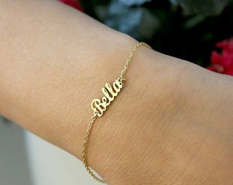 Tiny Name Bracelet-Gold Bracelet-Name Bracelet-Gold Jewelry-Name jewelry-Gold  Name Bracelets-Bridesmaid Gift-Personalized Gift