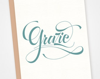 Grazie letterpress card