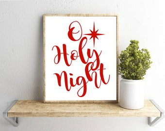 Printable Wall Art, O Holy Night Red, Christmas, Home Decor, Instant Download