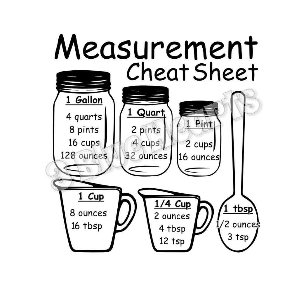 Download Measurement Cheat Sheet SVG Studio DXf pdf , Cutting Board ...