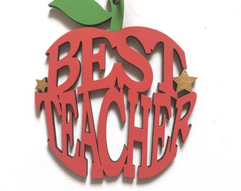 Best Teacher Gift ~ Teachers Appreciation Plaque ~ Best Teacher Apple ~ Freestanding Red Apple School Sign Decor