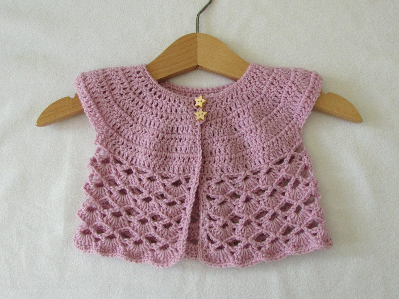 Crochet Lace Baby Cardigan Written Pattern