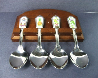 1985 Avon Stainless Steel Souvenir Spoon Set with Hanger, Sugar Spoons