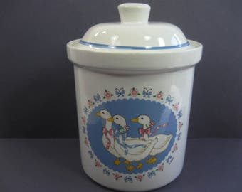 Vintage Ribbon Geese Cookie Jar Ceramic Storage Container, house gift