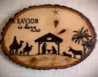 A Savior is Born Christmas Woodburning - Pyrography Decor