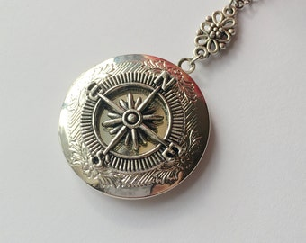 Custom Your Antique Silver Compass Locket Necklace.