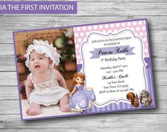 Sofia the First Invitation - Printable Birthday Party Invite - Custom Personalized Digital Photo Card 4x6 or 5x7 Princess Sofia Sophia