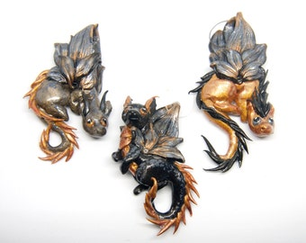 Black, silver and golden dragons pendants necklaces