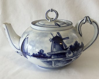 Antique Made in Germany Delft Blue And a White Windmill And Sailboat Scene Porcelain Teapot