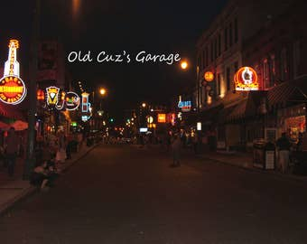 Photograph -  Home of the Blues, Beale Street in Memphis, Tennessee, After Dark